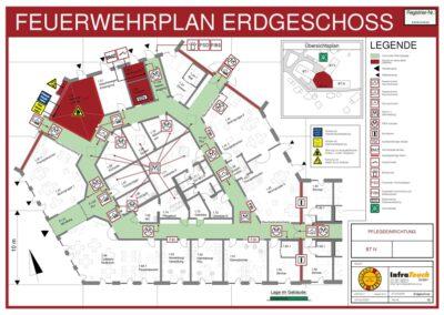 Feuerwehrplan EG einer Pflegeeinrichtung