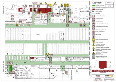 Feuerwehrplan eines Warenhauses